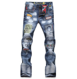 jeans des hommes appliqué achat en gros de-news_sitemap_homeHommes Streetwear Jeans Washed Denim Ripped trous design pantalons longs Applique Hip Hop Biker Jeans Hommes Pantalons