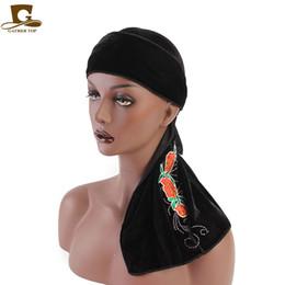 Doing hair online shopping - 2019 Women velvet durag Turban rose flower pattern headwrap doo do rag Bandanas Headwear Headband Hair Cover Accessories Waves Cap