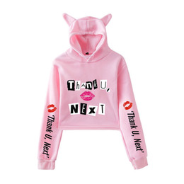 wholesale cropped sweatshirts 2019 - FADUN 2019 Ariana Grande fashion trend sala Cat Crop Top Women summer Hoodies Sweatshirt Sexy hot Kpop Harajuku plus Siz