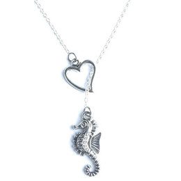 $enCountryForm.capitalKeyWord NZ - Heart Lariat Hippocampus Seahorse Necklace Pendant Vintage Silver Punk Collar Choker Friendship Necklaces Ocean Fashion Women Jewelry Gifts