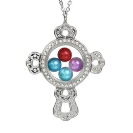 $enCountryForm.capitalKeyWord Australia - Magnetic Cross Glass Locket Pendant Bead Pearl Cage Floating Living Memory Charms Pendant Necklace With Stainless Steel Chain