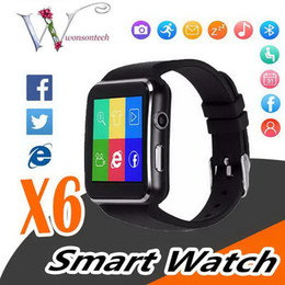 sim card smart watch sony NZ - Curved Screen X6 Smartwatch Smart Watch Bracelet Phone With SIM TF Card Slot With Camera For iPhone Samsung LG Sony All Android Mobile Phone