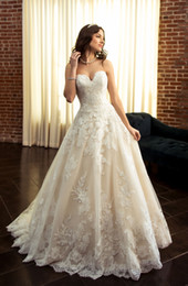$enCountryForm.capitalKeyWord Australia - 3D Lace Wedding Dresses Strapless Sweetheart Neckline Sleeveless Corset Wedding Dress Bridal Gowns Zipper with Button
