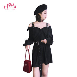 black women dress styles NZ - Autumn Vintage Hard Black Suspenders Dress Female Harajuku Gothic Korean Off Shoulder Sexy Shirt Dress Women Punk Style Dresses T5190617