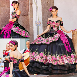 $enCountryForm.capitalKeyWord Australia - Black Ball Gown Quinceanera Dresses Off The Shoulder Neck Beaded Tiered Sweet 16 Dress Sweep Train Organza Flower Appliqued Masquerade Gowns