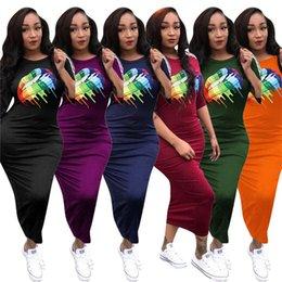 $enCountryForm.capitalKeyWord Australia - Women Designer Bodycon Dresses Fashion Multi-color Long Dress Stripe 1 2Sleeve Casual Maxi Dress Solid Color Overall Party MaxiskirtC73104