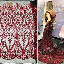 prom dresses beautiful Australia - 5yards piece Burgundy Sequins Net Lace Fabric For Indian Women Bride Dresses Sewing Material Beautiful Sequined Mesh Tulle Prom Laces Fabric
