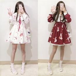 $enCountryForm.capitalKeyWord Australia - Lolita Dress Sweet Rabbit Cute Japanese Kawaii Girls Princess Maid Vintage Gothic Printed Patterns Lace White Red Summer Skirt T3190614