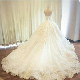 sheer flower dress UK - Ball Gown Luxury Wedding Dresses Beaded Flower Appliques Lace Sweetheart Court Train Bridal Gowns Court Train Custom Size Robes De Mariee