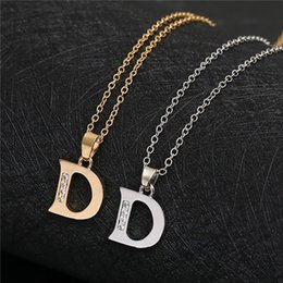 pendant letters gold 18k Australia - English Alphabet -D gold silver Family friend Name Letters Sign Word Chain Necklaces Tiny Initial Letter pendant Necklace jewelry