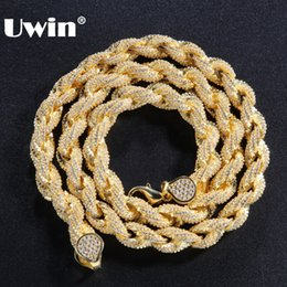 $enCountryForm.capitalKeyWord NZ - wholesale Bling Bling 8mm Rope Chain Luxury Micro Pave Iced Out Cubic Zirconia Necklace For Men Gold Color Fashion Hiphop Jewelry