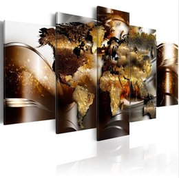 $enCountryForm.capitalKeyWord NZ - ( No Frame)5PCS Set Modern Abstract Burning Map Art Print Frameless Canvas Painting Wall Picture Home Decoration