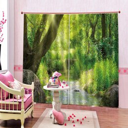 shower stream Australia - Fashion Customized 3D Curtain Woods stream Curtain Bedroom Living Office Cortinas Blackout Bathroom Shower