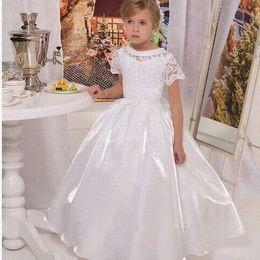 White Communion Dresses Short Australia - White Ivory Children Flower Girls Dress Short Sleeve Holy Communion Kid's Party Prom Gowns Graduation Formal Wedding Occasion