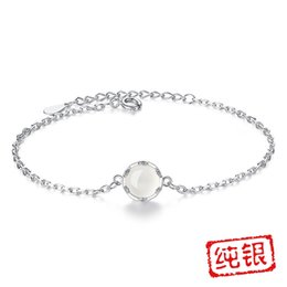 Wholesale Moon Night Forest Day Korean Version Silver Bracelet Girls Cross Chain Flower Bud Hand with Box Natural Chalcedony Bracelet