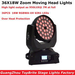 wash effect Australia - 36X18W RGBWA-UV 6IN1 LED Zoom Moving Head Light DMX512 LED Moving Head Wash Effect Lights 90-260V IP20 Stage Lighting Equipment