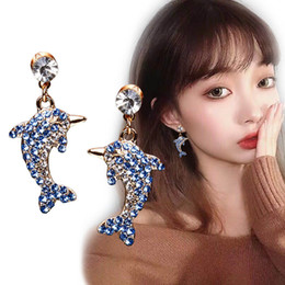 $enCountryForm.capitalKeyWord NZ - 2019 new 925 silver needle cute dolphin dazzling gradient crystal earrings European hot fashion woman stud earrings Valentine's Day gift