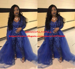 plus size v neck jumpsuit Australia - Jumpsuit Royal Blue Prom Dresses With Overskirts V Neck Long Sleeve Sequined Formal Evening Gowns Plus Size African Pageant Pants Party Wear