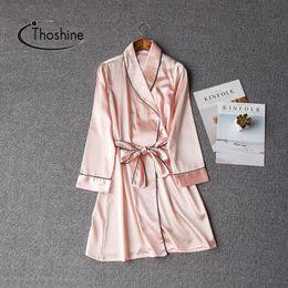 Shirt brandS china online shopping - Thoshine Brand Spring Summer Autumn China Satin Silk Robes Women Sexy Nightie Female Elegant Bathrobe Lady Girl Nightwear