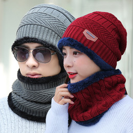 men real fur scarves 2021 - Beanie Hat Scarf Set Knit Hats Warm Thicken Winter Hat for Men and Woman Unisex Cotton Beanie Knitted Caps 100pcs CNY848