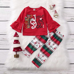 christmas clothes Australia - Christmas Boutique Fall Winter Baby Girls Ruffles Outfits Letter Print Long Sleeve Tops + Deer Design Pants Clothing Sets