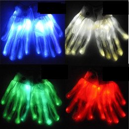 Rave light up toys online shopping - 6 design Halloween christmas LED flash glove Dancing glow gloves Concert noctilucent rave prop gloves lighted up gloves children gift toy
