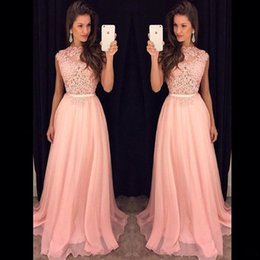 Fancy Prom Dresses Australia - Cheap Fancy Pink Prom Dresses New 2019 Sleeveless Top Lace Arabic Evening Gowns High Neck Floor Length Long Chiffon Formal Party Dress