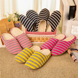 wholesale rubber shoe covers NZ - Man's Warm Home Plush Soft Slippers Anti-slip Winter Floor Bedroom Shoes Cover Stripe Color Casual Indoor Flats Male Large Size