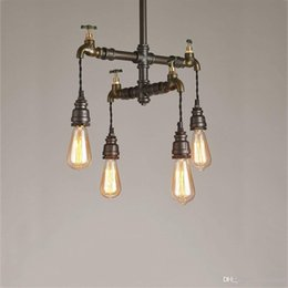 edison pipe chandelier Australia - Loft Vintage Pendant Lights Water Pipe Chandeliers Edison Retro Steampunk Metal Interior Lighting for Restaurant Coffee Room Bar
