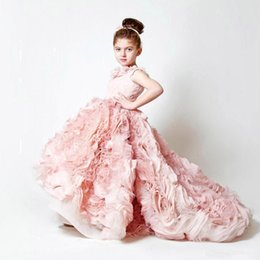 Cute Puffy Wedding Dresses Australia - 2019 New Cute Hi-lo Blush Pink Little Girl Pageant Dresses Lace Flowers Puffy Ruffles Organza Blumenmadchenkleide Wedding Flower Girls Dress
