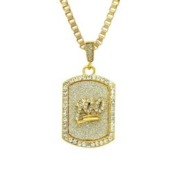 $enCountryForm.capitalKeyWord Australia - Hip Hop Rock Bling 100 Points Crystal Army Card Necklaces & Pendants Gold Color Plated Necklace With Link Chain for Men