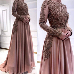 $enCountryForm.capitalKeyWord Australia - 2019 Arabic Muslim Luxurious Evening Dresses Lace Beaded Crystals Chiffon Prom Dresses Long Sleeves Formal Party Bridesmaid Pageant Gowns