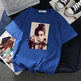 T Shirt Woman Korea Australia - New Korea 2019 Summer tshirt BF B Print Short Sleeve Basic T-shirts Ladies T Shirt Casual Harajuku College Women Top Tshirt