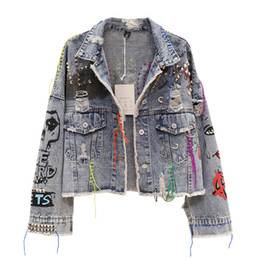 $enCountryForm.capitalKeyWord NZ - Graffiti Denim Jacket Women Personality 2019 Autumn Short Ripped Hair Edge Cut Rivet Jacket Color Tassel Jeans Female Outwear
