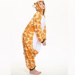 b8edc51d2505 Funny Animal Onesie Giraffe For Adult Kigurumi Fleece Women Cosplay  Clothing Winter Pajamas Halloween Party Jumpsuit Sleepwear