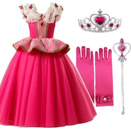 princess aurora dress NZ - Girls Dresses Sleeping Beauty Cosplay Aurora Princess Dress For Girls Kids Halloween Birthday Party Tutu Dress For Christmas Y19061701