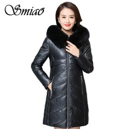 Discount plus size leather fur - Women Winter Leather Jacket PU Long Parkas 2018 New Plus Size 6XL Ladies Fur Collar Hooded Cotton Padded Coat Female Out