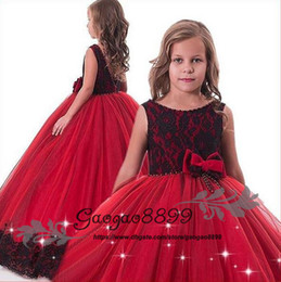 14185f32e 2019 red and black Lace Beaded Little Girls Pageant Dresses Wedding Party  Holiday Bridesmaid Birthday Tulle Lace cheap Flower Girl Dress