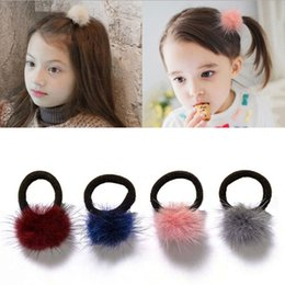 mink hair ball accessories UK - Baby Kids Cute Hair Accessories Headwear Mini Mink Ball Rubber Headbands Girls Children Solid Color Pompon Gum Elastic Hair