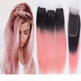 dye human hair gold Canada - 8A Rose Gold Pink Ombre Straight Hair Bundles with Lace Closure Two Tone 1B Pink Ombre Human Hair Weaves and Top Closure