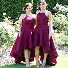 high low wedding dresses halter Australia - 2019 Halter Neck Lace Bridesmaid Dresses High Low A Line Maid of Honor Gowns Zipper Back Sleeveless Wedding Guest Dress
