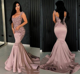 Discount coral red rose beads - Dusty Rose Lace Appliques Bead Mermaid Prom Party Dresses 2019 Sexy Backless Evening Dresses Vintage Formal Party Pagean