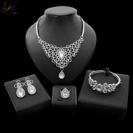 $enCountryForm.capitalKeyWord Australia - Yulaili Dubai Jewelry Sets New Design Crystal Pendant Necklace Earrings For Women's Party Bridal Wedding Jewelry Accessories Free Gift Box