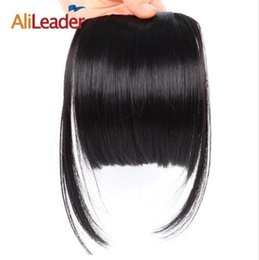 Synthetic Hair Clip Bangs Australia - 2019 Neat Front False Fringe Clip In Bangs Hairpiece With High Temperature Synthetic Hair Blunt Bang
