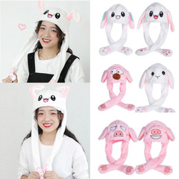 silk toys Australia - Women Kids Cute Plush Rabbit Pinching Bunny Ear Hat Can Move Airbag Cap Toy
