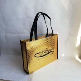 Wholesale Clothes Shopping Australia - Wholesales 500pcs lot Customized Non Woven Logo Bags Shopping Bags with Handles Laser Lamination Shoes Clothes Packaging