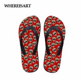 Discount new designs for sandals - WHEREISART 2018 New Fashion Skull Design Women Flip Flops Casual Non-slip Flats Home Slippers for Ladies Summer Sandals