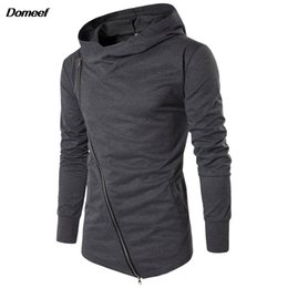 Assassins Creed Zipper Australia - Domeef Men Hoodies Street Wear Diagonal Zipper Slim Fashion Sweatshirt Men's Tracksuit Men Assassins Creed Hoodies M-3XL