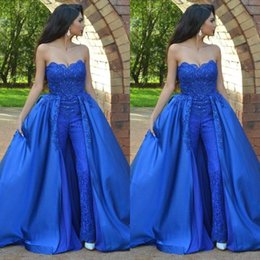 $enCountryForm.capitalKeyWord Australia - Arabic Royal Blue Women Jumpsuit Prom Dresses 2019 Strapless Lace Beaded Floor Length Formal Party Evening Gowns With Over Skirts