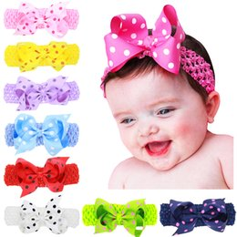 "$enCountryForm.capitalKeyWord NZ - Baby Girls 4"" bow Headbands Forked Tail Dot Bow Kids Polka Dot Wide Grosgrain Bowknot Hairbands Children Hair Accessories 16 Colors INS hot"
